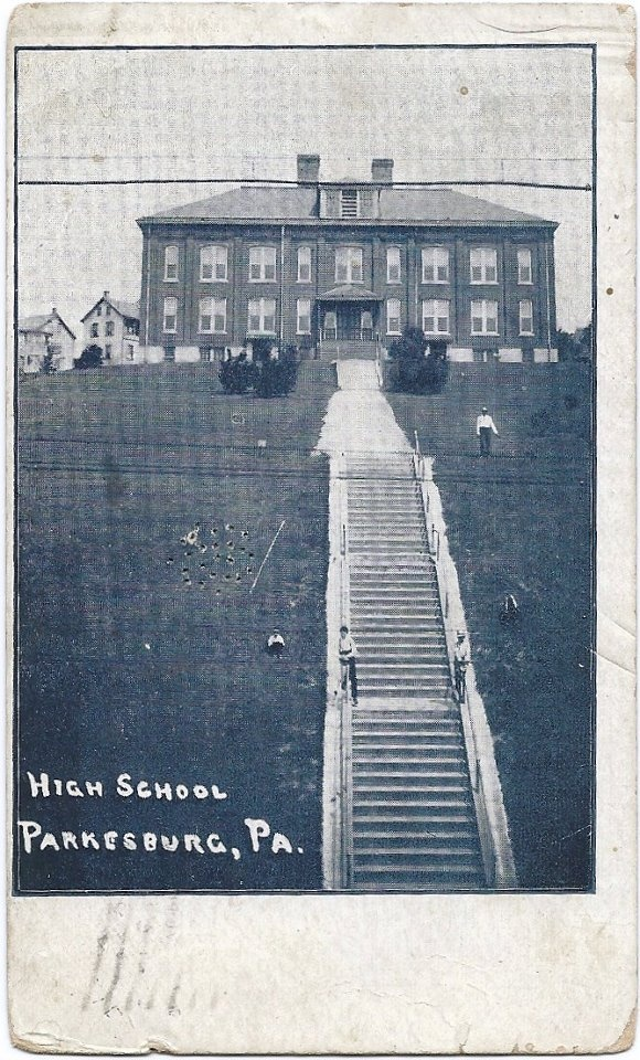 Parkesburg School with 60+ stairs school kids from Parkesburg's south side climbed every day. (picture circa 1920)