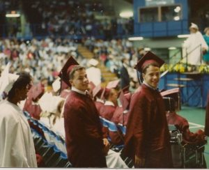 Rich (left) and Kevin graduate from Conestoga High School in 1990.
