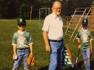 Rich (left) and Kevin with their dad prior to a at a Devon Strafford little league game.