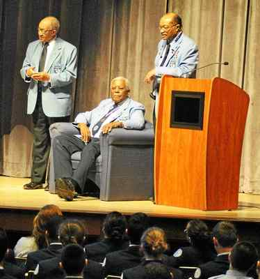 Nathan Thomas, Dr. Eugene J. Richardson Jr. and Aaron Watkins, members of the legendary band of black pilots known as the Tuskegee Airman visit Phoenixville Area Middle School.