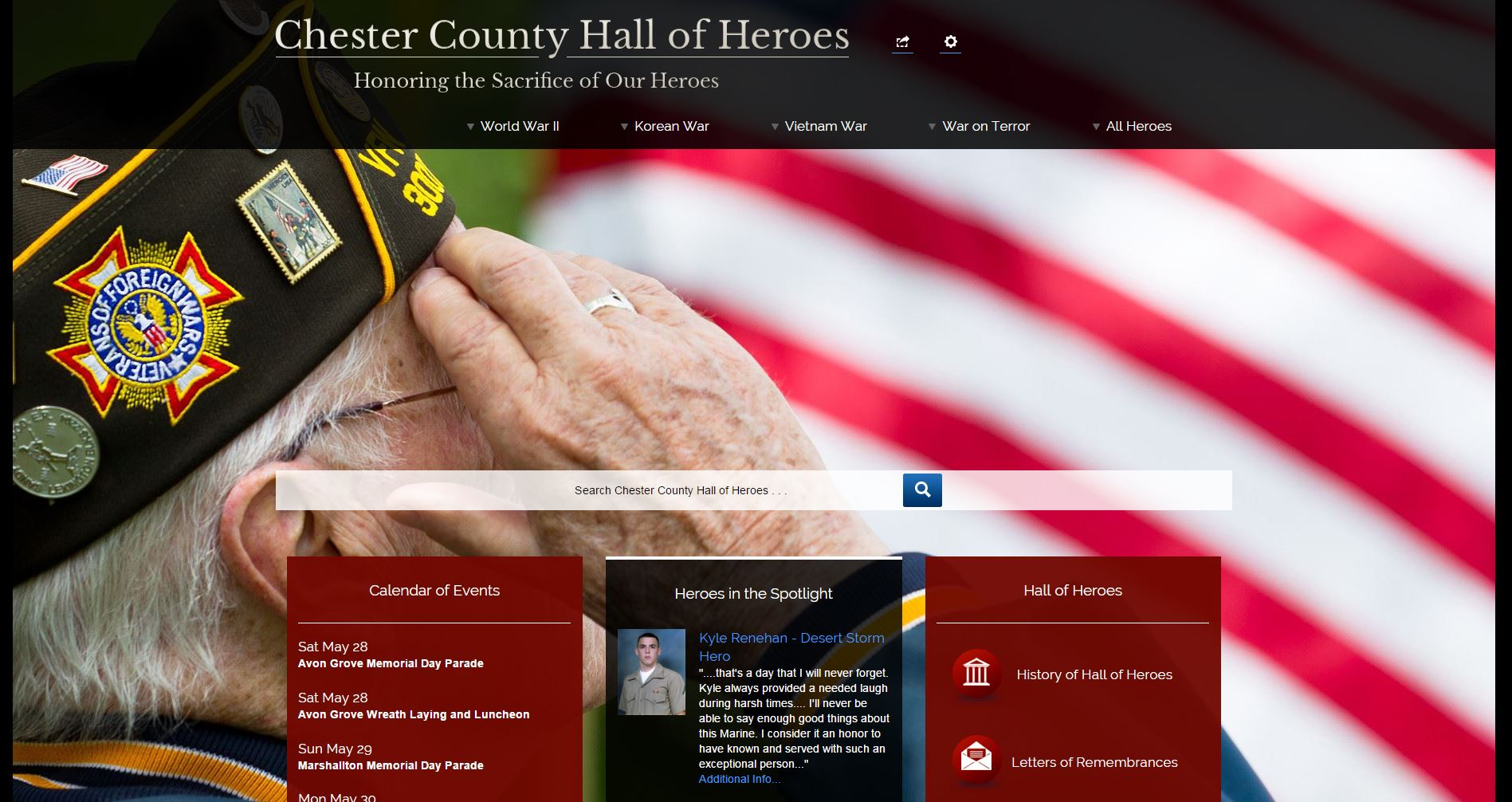 Chester County Updates Hall of Heroes Website in Time for Memorial Day