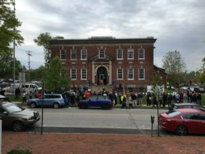 The scene from across High St. in West Chester--via Lance Knickerbocker / VISTA Today.