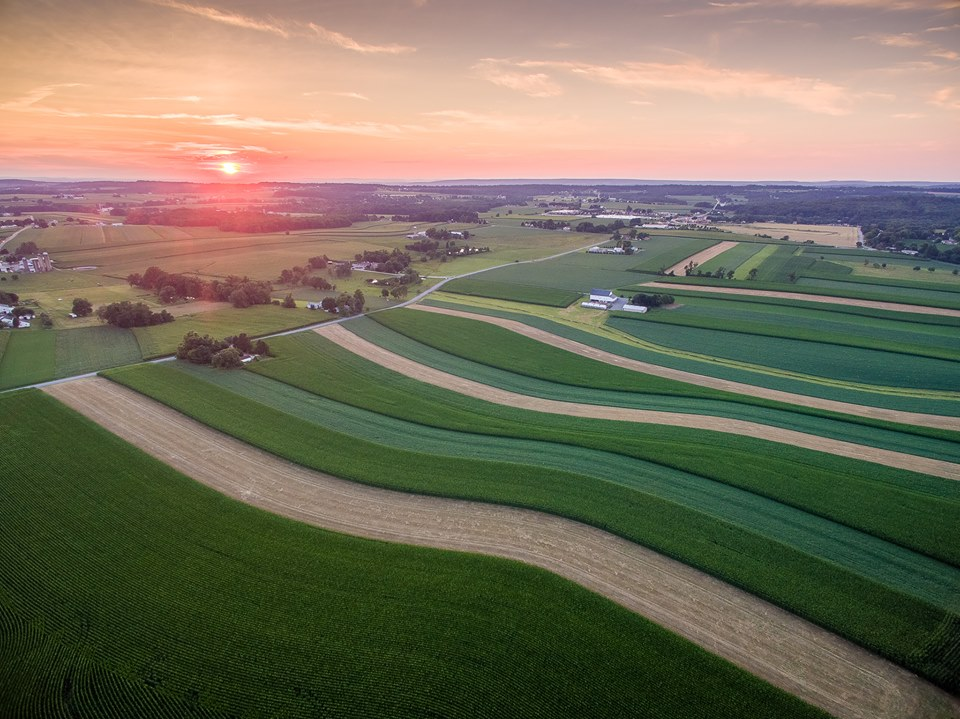 Farm fields north of Parkesburg captured at a sunset in July.