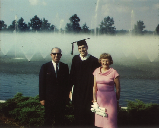With parents at graduation, Furman University 1966.