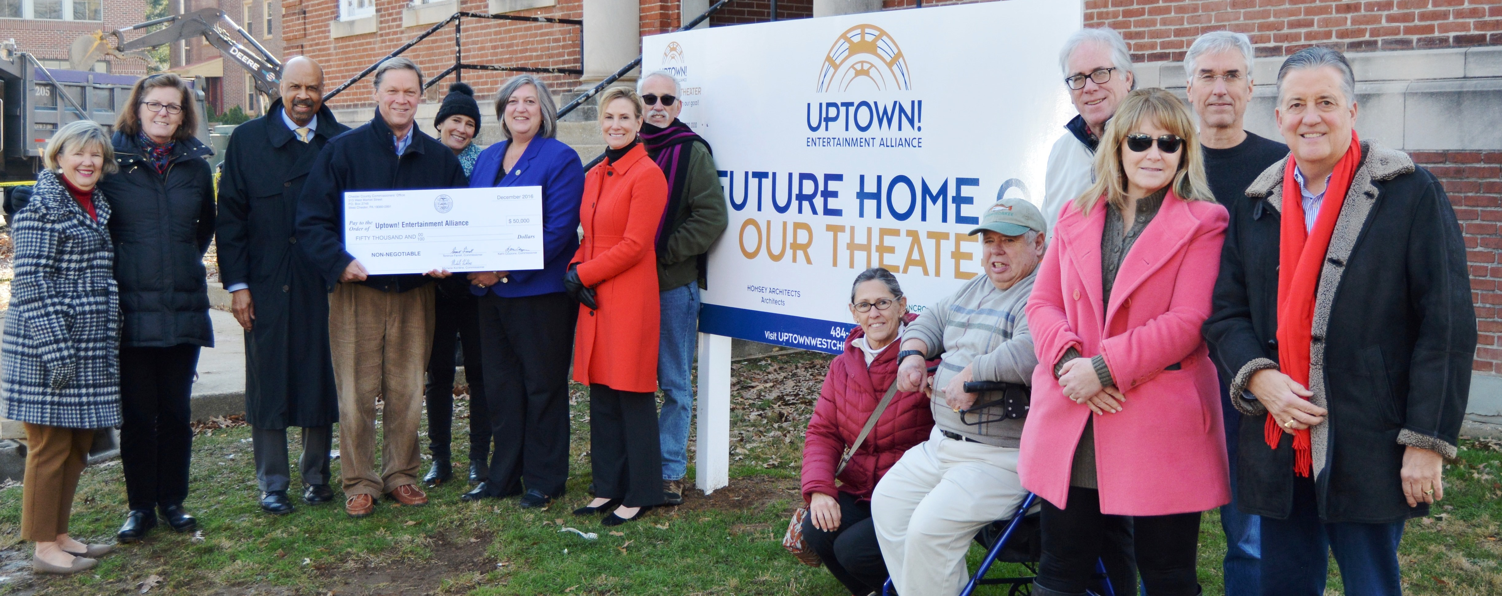 Chester County Commissioners Present $50,000 Check to Uptown! Entertainment Alliance