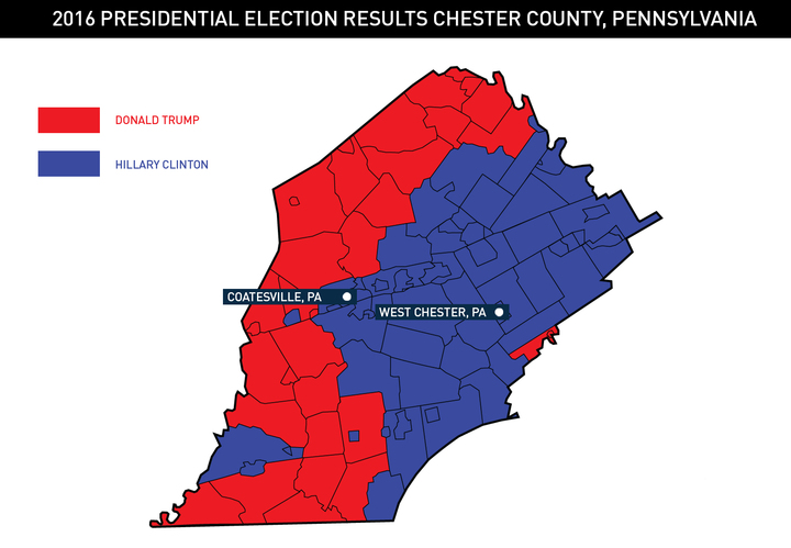 Chester County as Split on Trump's First 100 Days as It Was on Election Day