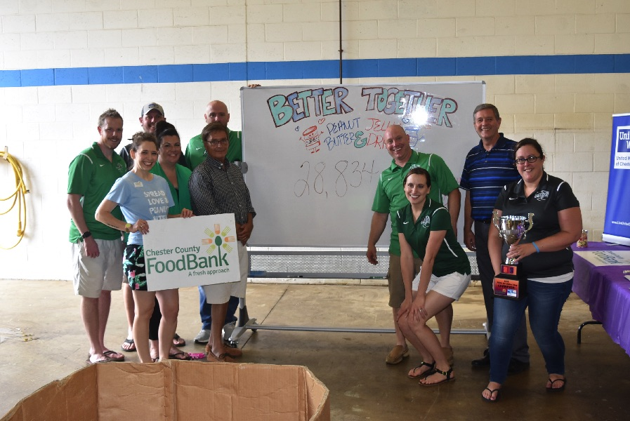 Chester County Food Bank Gains 14 Tons of PB&J as Matt Gorham Group Wins Fourth Straight Drive