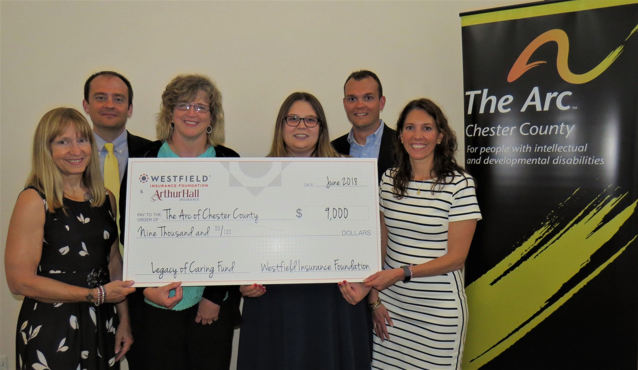 Arc of Chester County Receives Grant from Arthur Hall Insurance, Westfield Insurance Foundation