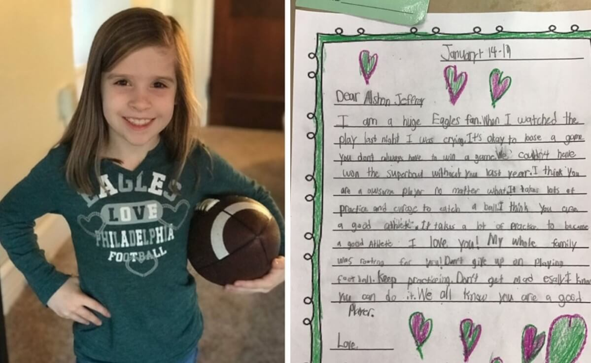 Local Second-Grader's Letter of Support Prompts Surprise Visit from Eagles Wide Receiver
