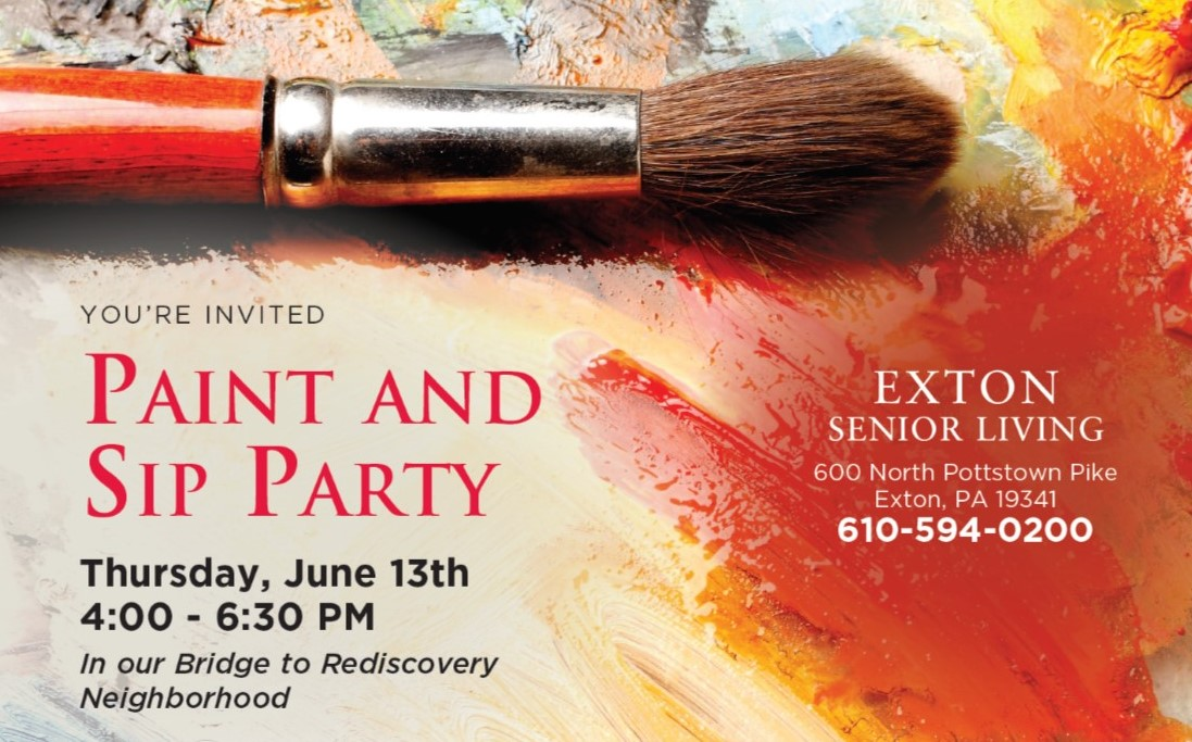 Exton Senior Living to Showcase Bridge to Rediscovery Program at Paint and Sip Party on Thursday