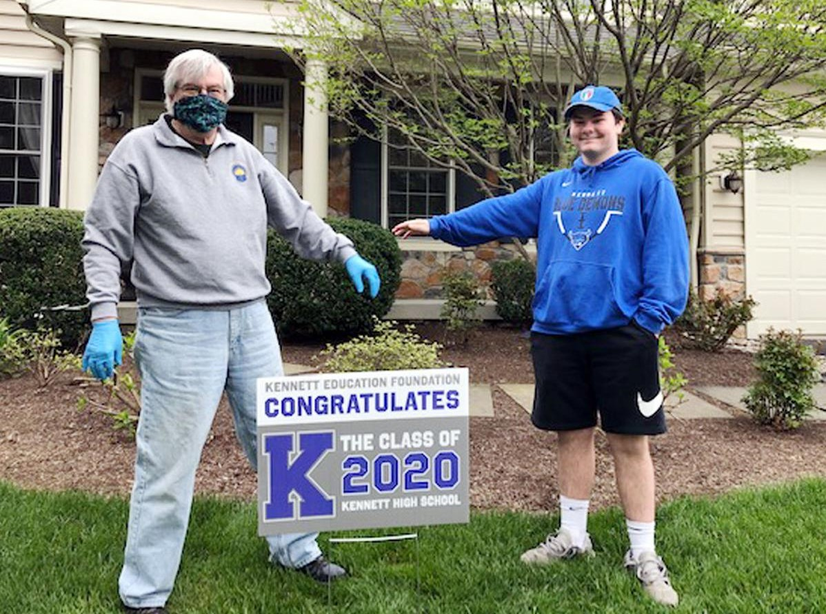 Graduating Seniors at Kennett High School Surprised with Congratulatory Lawn Signs