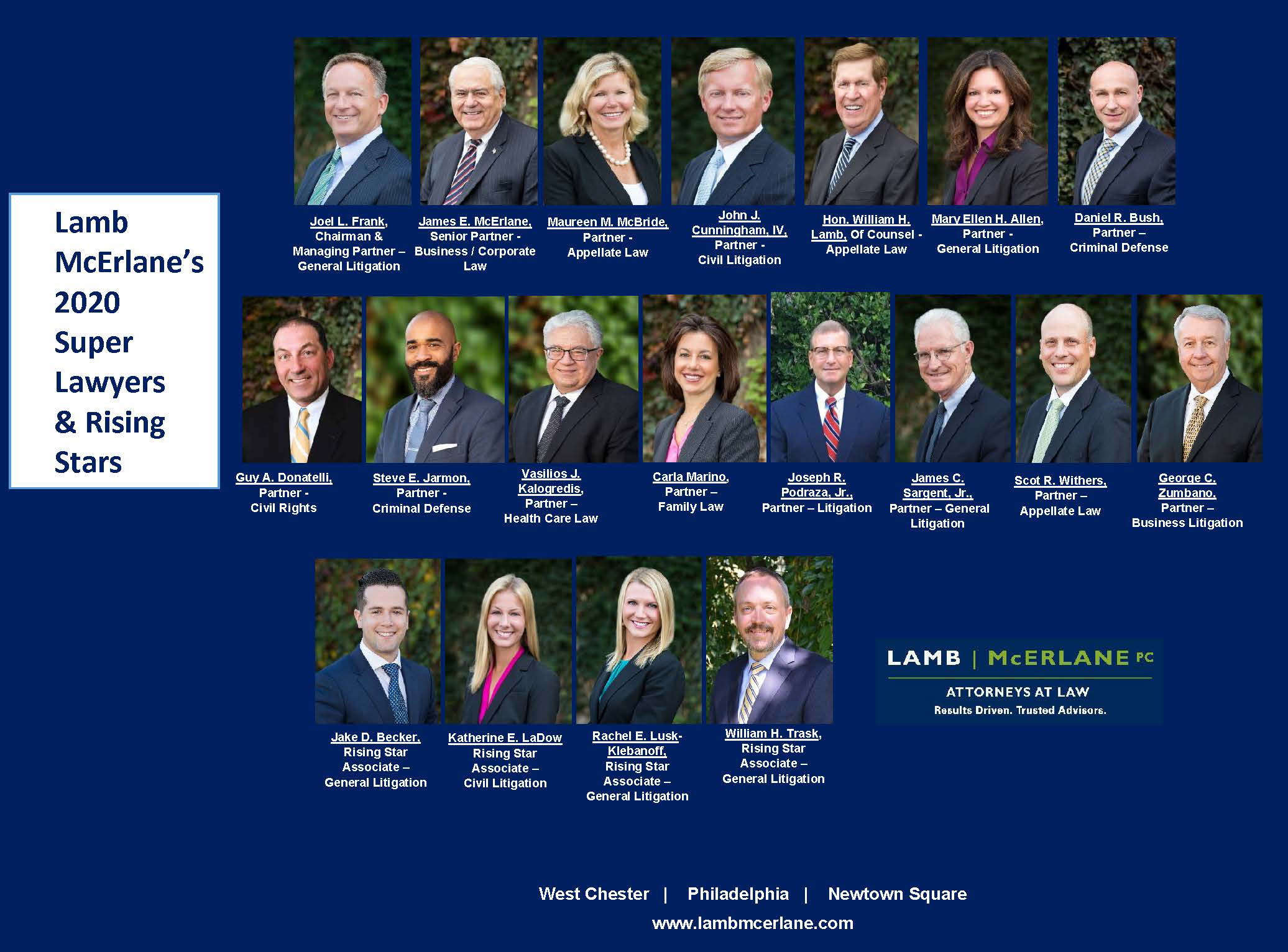 Nineteen Lamb McErlane Attorneys Named 2020 Pennsylvania Super Lawyers, Rising Stars