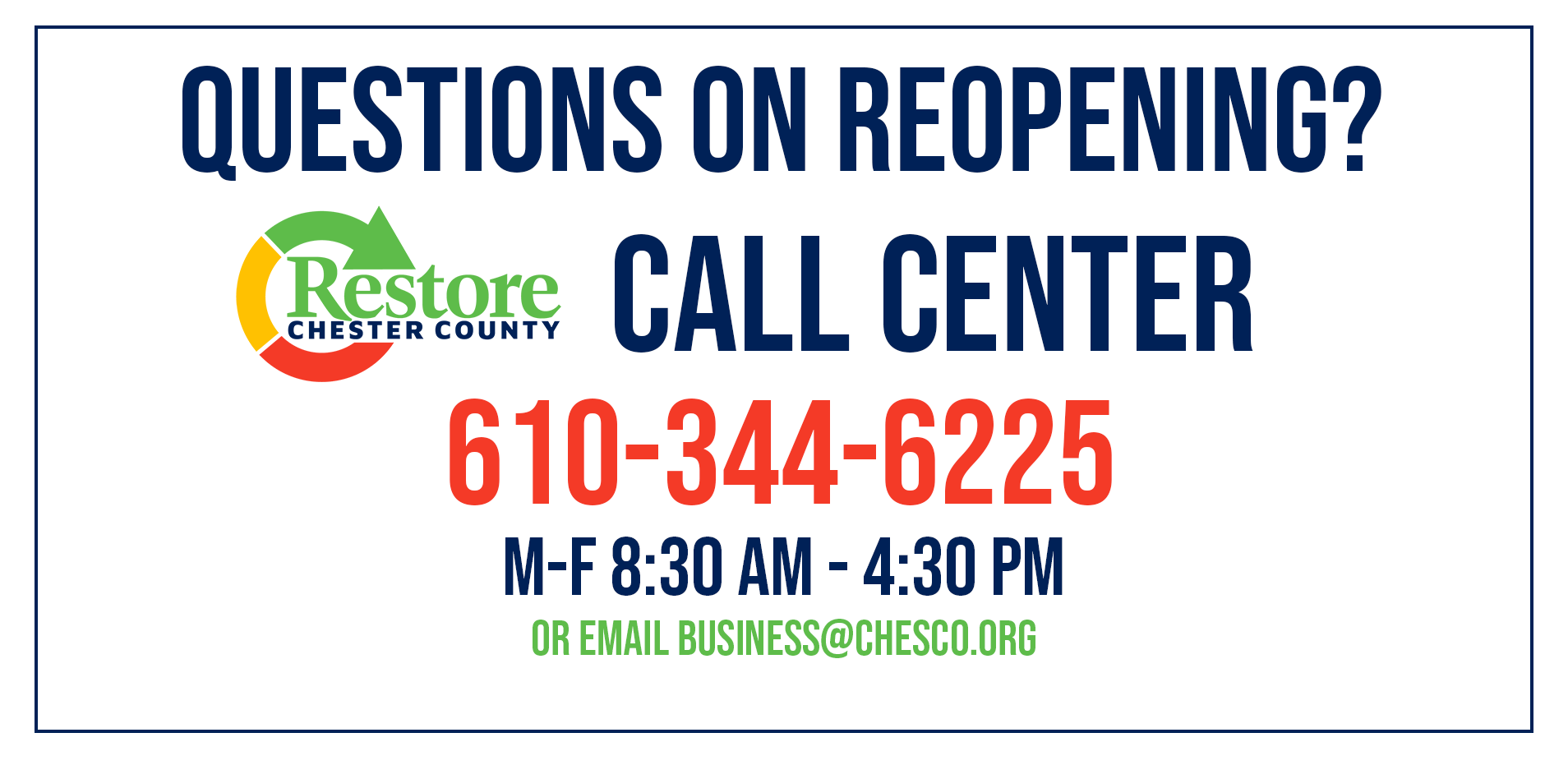 Chester County Adds Call-Center Service for Questions on Reopening