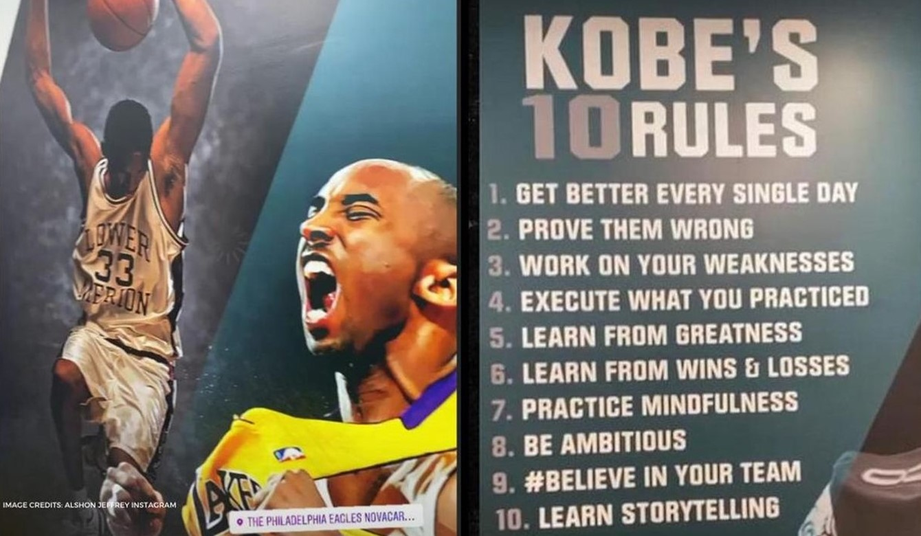 Eagles Honor Kobe Bryant with Tribute Wall Displaying His '10 Rules'