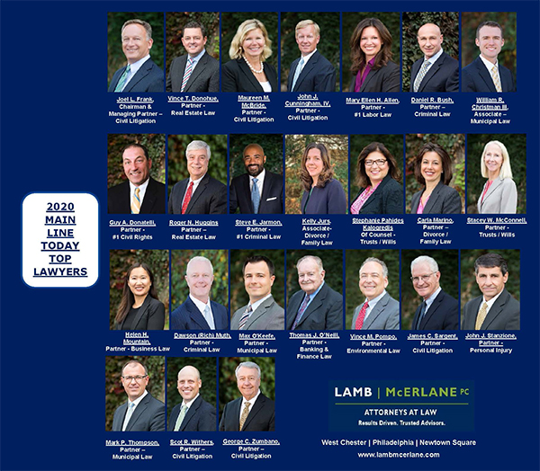 Twenty-Four Attorneys from Lamb McErlane Named 2020 Top Lawyers by Main Line Today