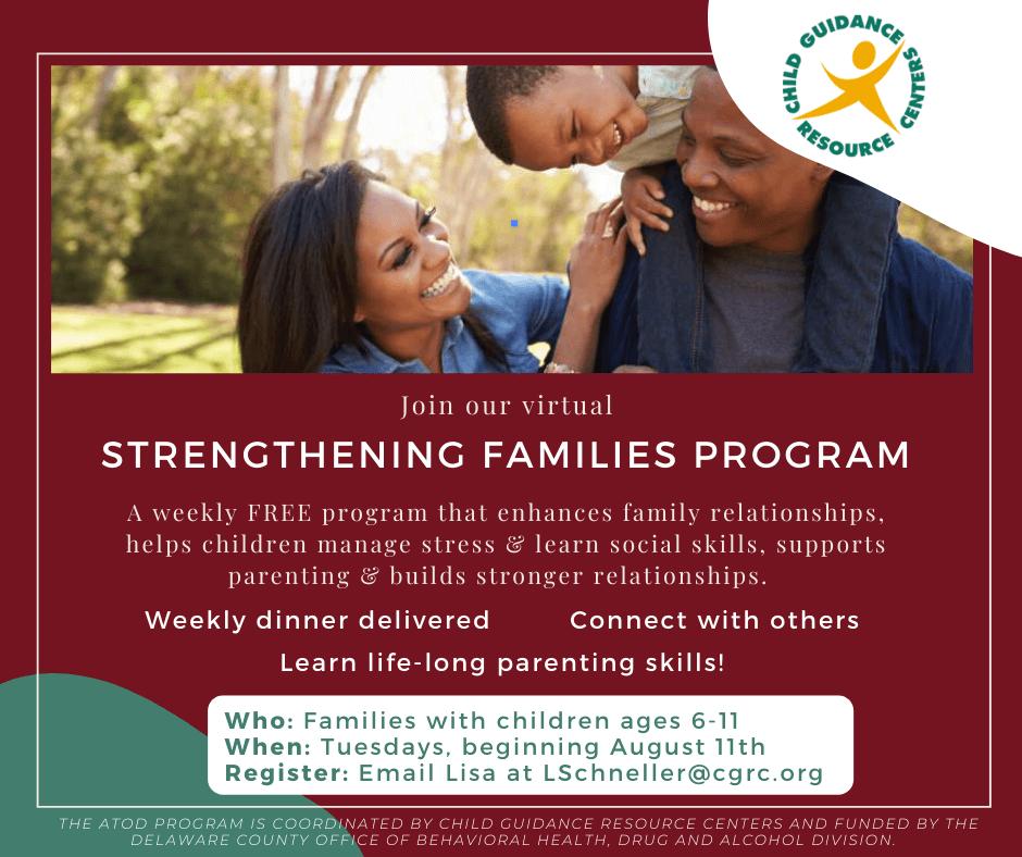 Child Guidance Resource Centers Hosts Virtual Strengthening Families Program