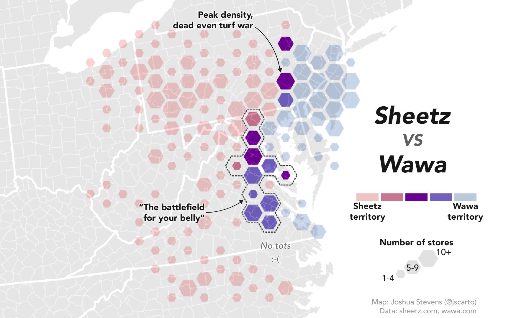 NASA Cartographer Weighs in on Wawa/Sheetz Turf War with a Twitter Map