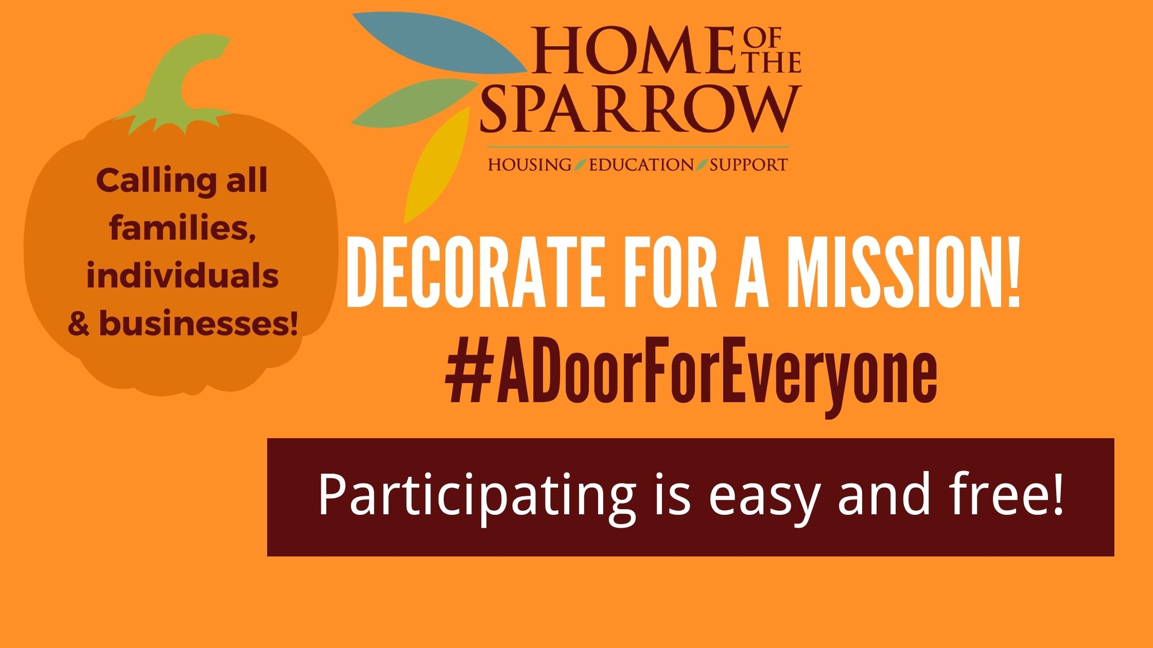 Home of the Sparrow Launches Door-Decorating Contest to Build Community Spirit, Raise Awareness About Housing Insecurity in Chester County