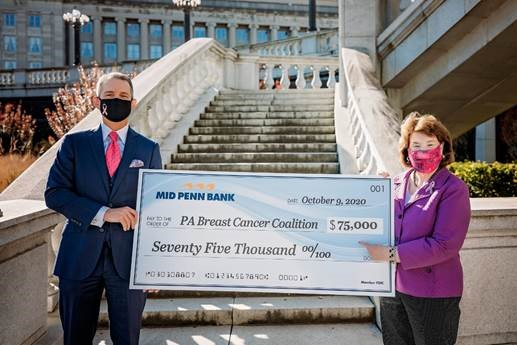 Mid Penn Bank Contributes $75,000 for Breast Cancer Research, Patient Support