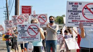 Marple protesters against a natural gas facility in Broomall