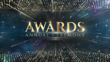 """A title card """"Awards Annual Ceremony"""" honoring a nonprofit and three small businesses"""