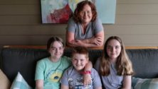 Heather McConnell here with her children (l-r) Hadleigh, 13, Finn, 9 and Maura, 13 at their Malvern Home.