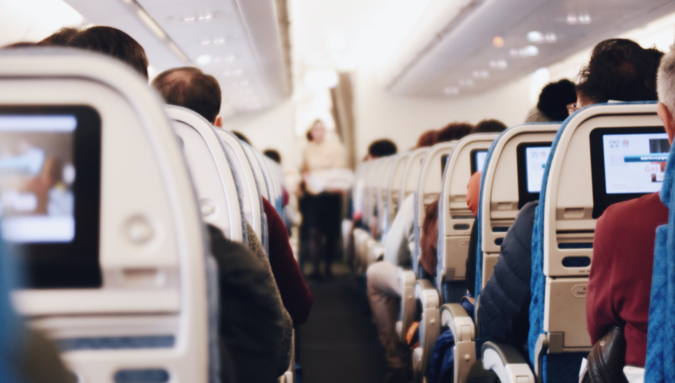 Business Travelers sitting in an airplane
