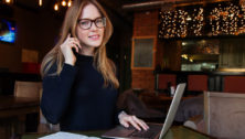 Young professional working in a coffee shop