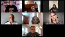 Faces of people on a Zoom call .