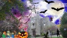 The P.I.T. campus in Media with glowing pumpkins, and bats in a Halloween motif.