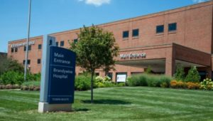 hospital sign and building